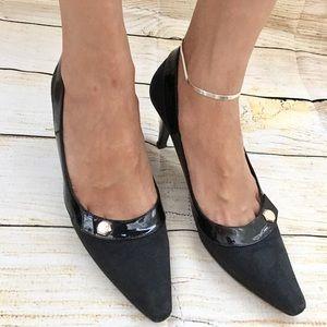 GUCCI GG Logo Canvas Leather Pumps Heels Shoes